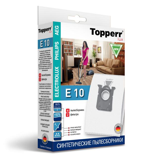 Фото - пылесборники TOPPERR Е 10 3,3л фильтр topperr fex 2 electrolux philips zanussi aeg ef17 fc8030 1164