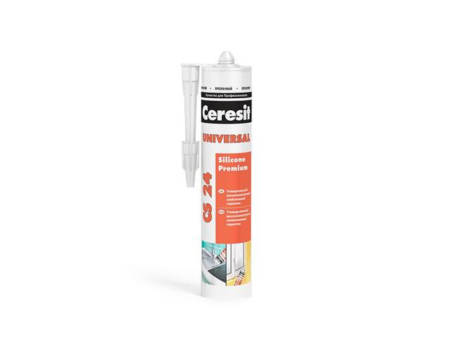 герметик силиконовый CERESIT CS 24 универсальный 280мл белый, арт.2005217