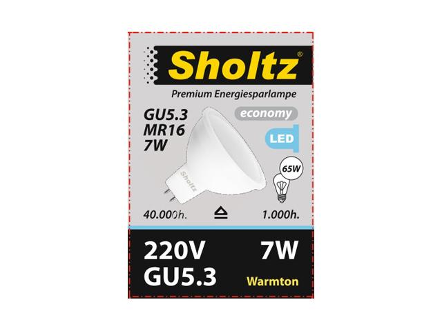 лампа светодиодная SHOLTZ 7Вт, GU5.3, 3000К, 230В, пластик