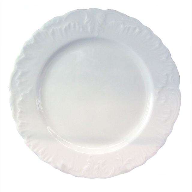 тарелка обеденная Рококо Золотая отводка, 25см, фарфор тарелка рококо платина 25см обеден фарфор