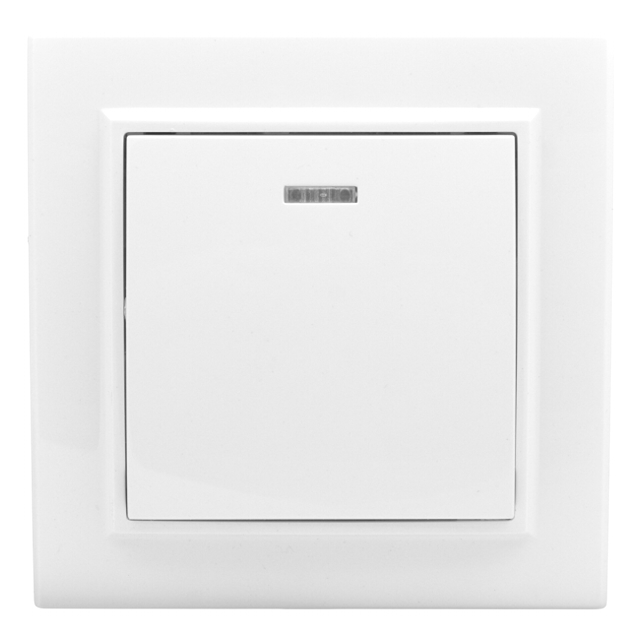выключатель 1-клавишный EKF Минск 10А с индикатором, белый
