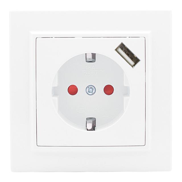 розетка 1-пост EKF Минск, 16А с USB с заземлением, с защитной шторкой, белый