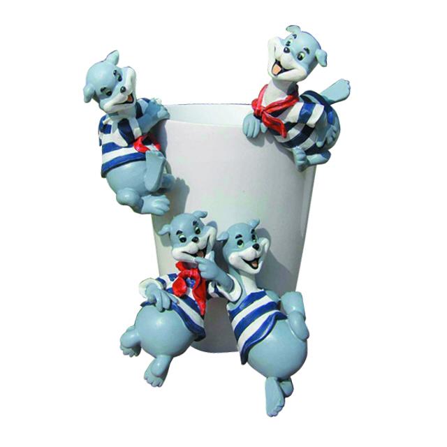 подвеска Пёс 7.1х6.1х13.1см керамика лагунов к я белый пёс синий хвост