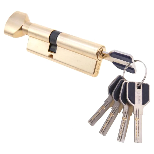 цилиндр ключевой MSM 90мм 55+35 полированная латунь вертушка