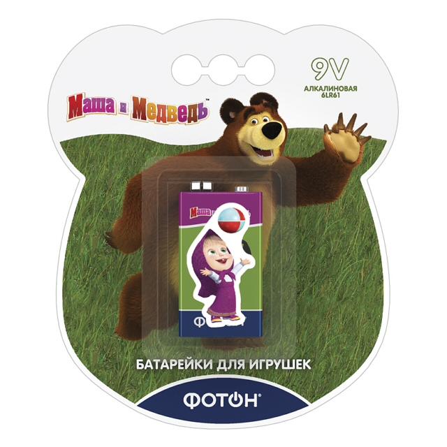 батарейка ФОТОН 6LR61 ВP1 Маша и медведь наклейка 1шт батарейка kodak max 6lr61 1bl 6lr61 1 шт