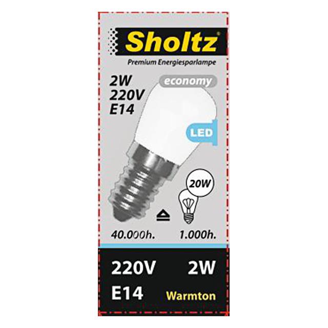 лампа светодиодная SHOLTZ 2Вт E14 200лм 3000K 220В груша