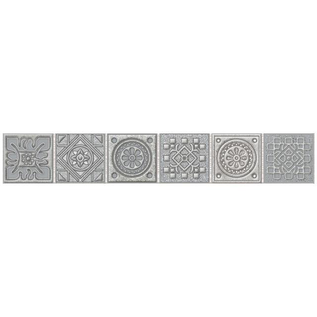 бордюр настенный 40,5х6,2 GRAZIA Grey Nefertiti мозаика, серый бордюр azori grazia grey nefertiti 6 2х40 5 см