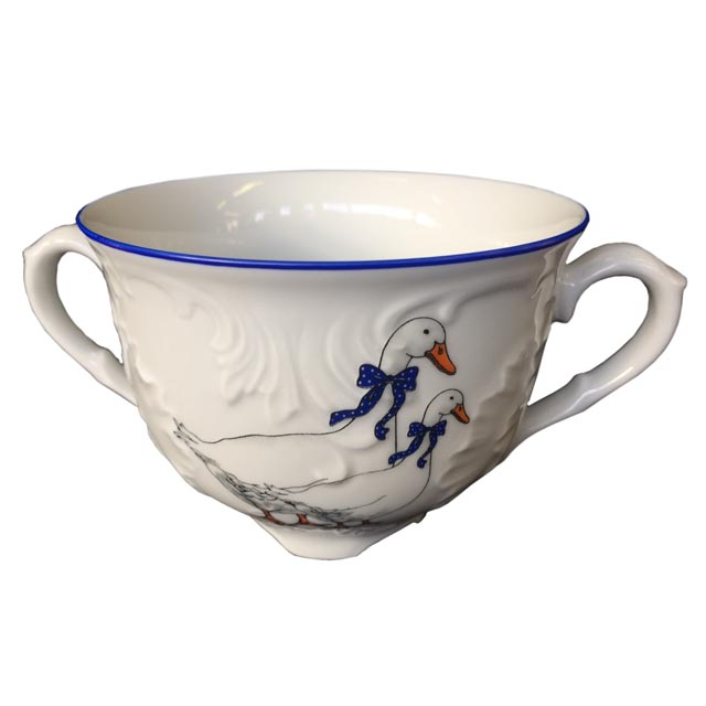 чашка бульонная Рококо Гуси 330мл фарфор