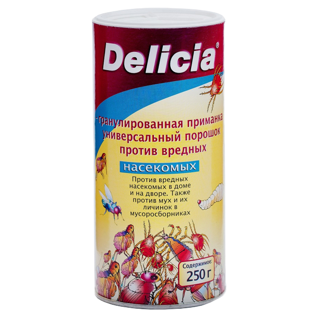 Порошок Delicia гранулированная приманка против вредных насекомых, 250 г