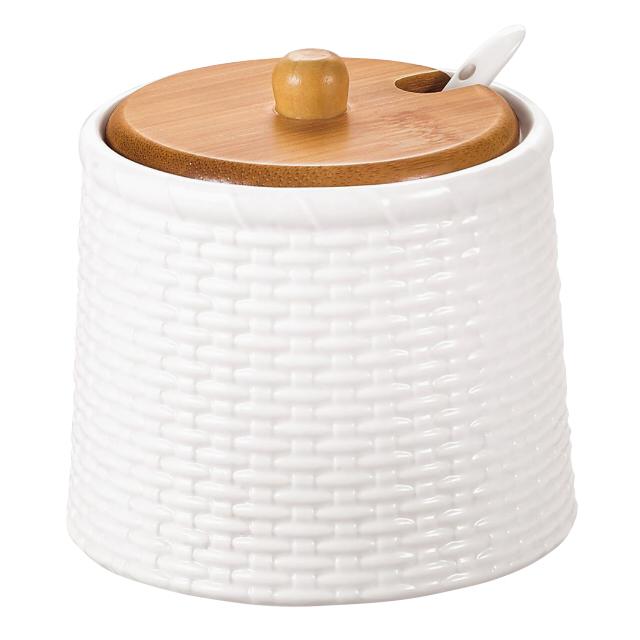 сахарница ATMOSPHERE Factura 350мл с ложкой фарфор, бамбук