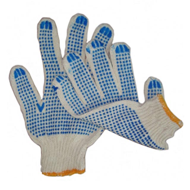 перчатки х/б с двусторонним ПВХ белые 10 кл., 5 нитей, 10 р-р
