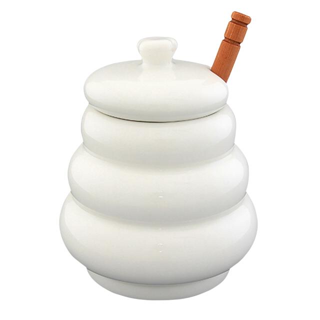 горшочек для меда Бочонок, 420 мл, 10х10х13 см, керамика, дерево недорого