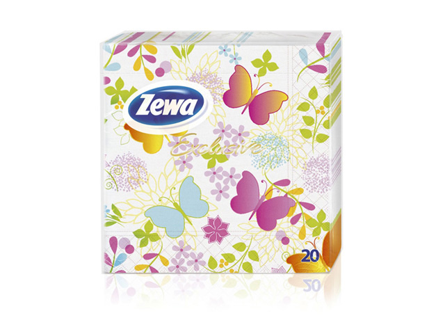 цена на салфетки ZEWA Бабочки 3-сл. 33х33см 20шт.