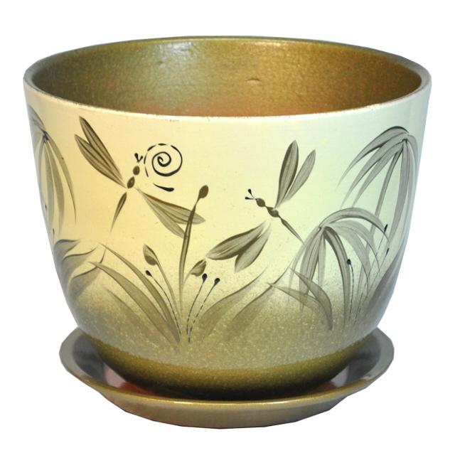 горшок керамический Милан Бали, диаметр 13 см, 0,8 л, цвета слоновая кость, серый