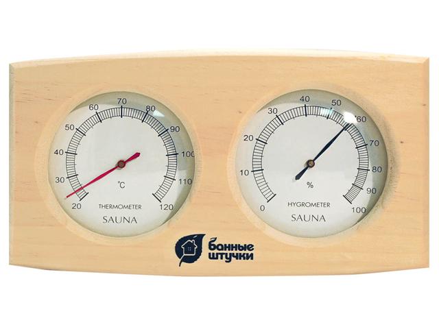 термометр для бани с гигрометром Банная станция 24,5х13,5 см термометр с гигрометром банная станция овальный в деревянном корпусе