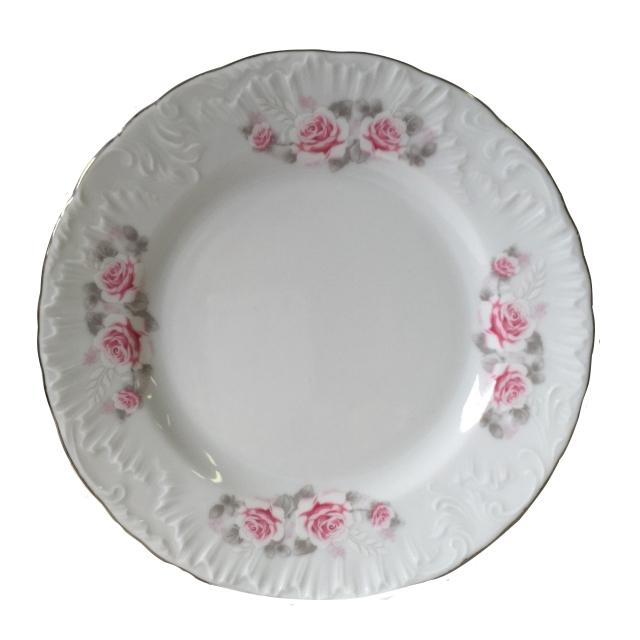 тарелка обеденная Рококо Бледная Роза отводка платиной 25см, фарфор тарелка рококо платина 25см обеден фарфор