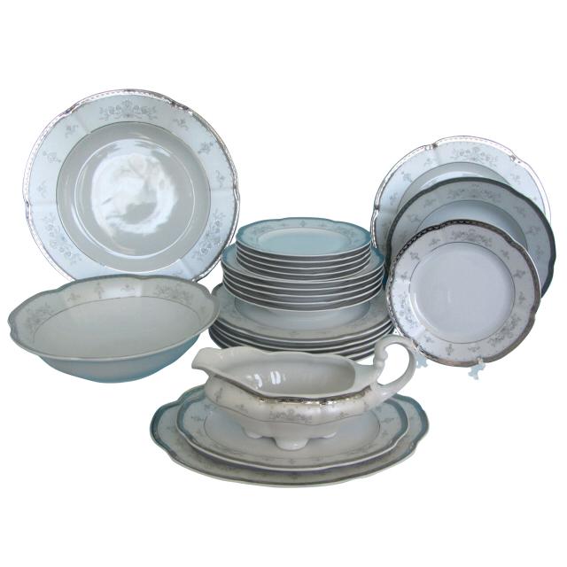 сервиз столовый CMIELOW Болеро платина/серебро 6/24 фарфор