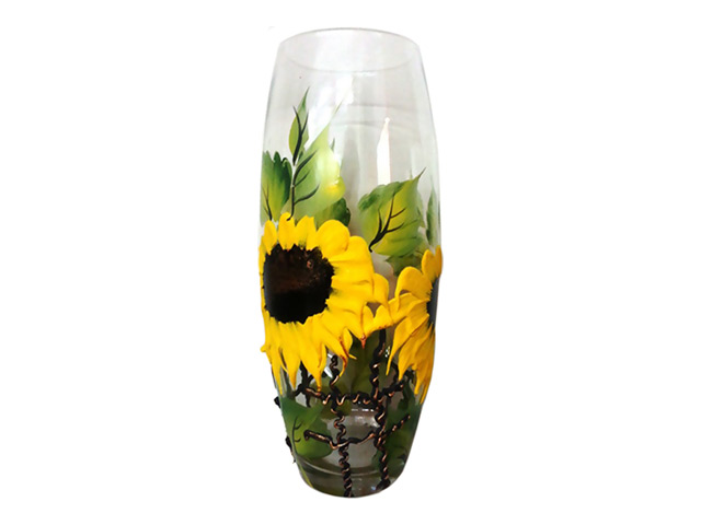 ваза Декорированная 25см стекло в ассорт.