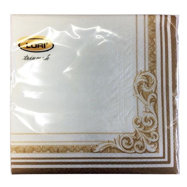 салфетки 3-сл. 33х33 см 20 шт. белый/золото угловой орнамент салфетки 3 х слойные katarina оптом саратов