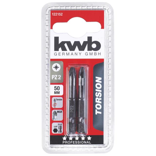 бита KWB PZ2 50мм torsion 2шт бита kwb pz2 25мм д гипсокартона 2шт