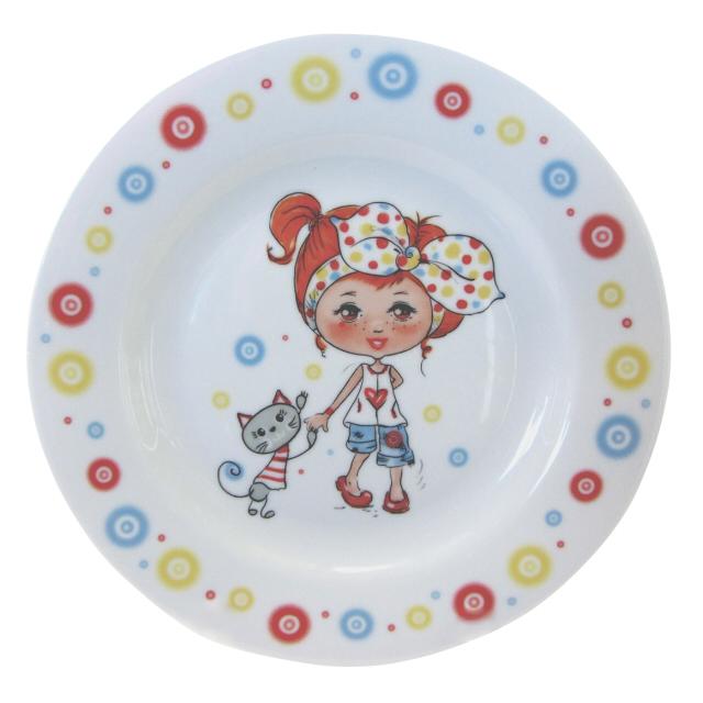 тарелка CMIELOW Calineczka Девочка с котиком 20,5см десертная фарфор