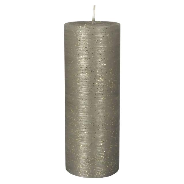 свеча-столбик PAP-STAR Рустика серебро 16х6см 30ч/г б/аромата