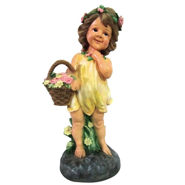 фигура садовая Девочка на камне с корзиной цветов 48х23х18см садовая фигура гном с лопатой и корзиной